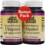 Natural Factors Coenzyme Q10 100mg 120 Softgels Bonus PackTwinpack