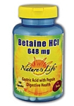 Natures Life® Betaine Hydrochloride 100 Capsules