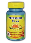 Natures Life  Potassium 99mg  100 Capsules