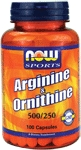 NOW Foods Arginine & Ornithine 500/250 mg 100 Capsules
