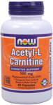 NOW Foods Acetyl L-Carnitine 500 mg 50 Capsules
