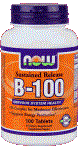 NOW Foods B-100 Sustained Release 100 Tablets