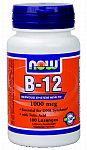 NOW Foods B-12 1,000 mcg Sublingual 100 Lozenges