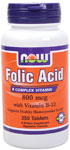 NOW Foods Folic Acid 800 mcg + B-12 250 Tablets