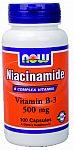 NOW Foods Niacinamide (B-3) 500 mg 100 Capsules