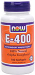 NOW Foods E-400 IU D-Alpha Tocopheryl Acetate 100 Softgels