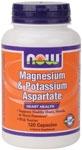 NOW Foods Magnesium & Potassium Aspartate 120 Capsules