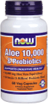 NOW Foods Aloe 10,000 & Probiotics 60 Veg Capsules