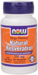 NOW Foods Mega Potency Natural Resveratrol 200 mg 60 Vcaps