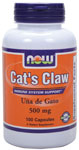 NOW Foods Cats Claw 500 mg 100 Capsules