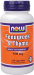 NOW Foods Fenugreek & Thyme 500 mg 100 Capsules