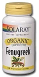 Solaray Organic Fenugreek Seed  620 mg   100 Vegetarian Capsules
